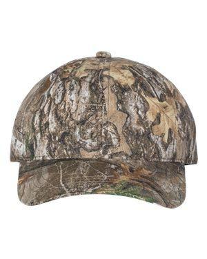 Outdoor Cap - Garment-Washed Camo Cap - CGW115 - Adjustable - Realtree Edge