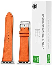Mifan Official Genuine Leather Band for Apple Watch 40mm/38mm Series 1/2/3/4 Premium Strap Replacement Soft Supreme Style Wristband Bracelet Orange