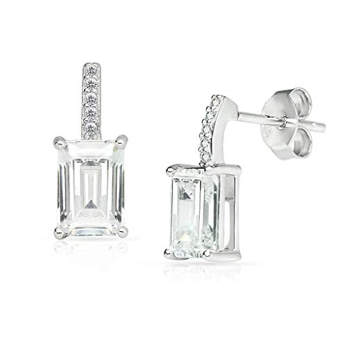- SOLIDSILVER -Sterling Silver Rectangle Drop Stud Earrings with Crystal Clear CZ Inlays | 13mm | Sterling Silver