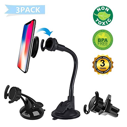 LEWOTE Universal Car Phone Mount[Dashboard/Windshield/Air Vent Cell Phone Holder 3in1][Strong Suction Cup][Gift 2Pcs Collapsible Grip]