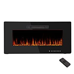 R.W.FLAME Recessed Electric Fireplace,Wall Mounted & in-Wall Heater-12 Color Modes& Automatic Design-Adjustable 5 Levels Flame Speed&Brightness-Sleep Mode-Remote Control&Touch Screen,750W-1500W from R.W.FLAME