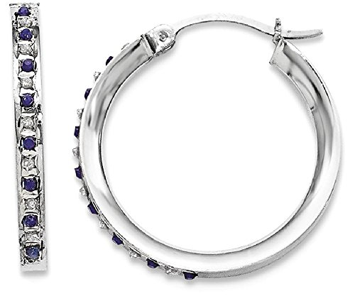 ICE CARATS 925 Sterling Silver Diamond Sapphire Round Hoop Earrings Ear Hoops Set Fine Jewelry Gift Set For Women Heart (Created Diamond Earings)