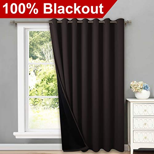 (NICETOWN Extra Wide Patio Door Curtains, Super Heavy-Duty Thermal Sliding Glass Door Lined Drape with Silver Grommet, Privacy Assured 100% Blackout Window Treatment(Brown, 1 Panel, 100