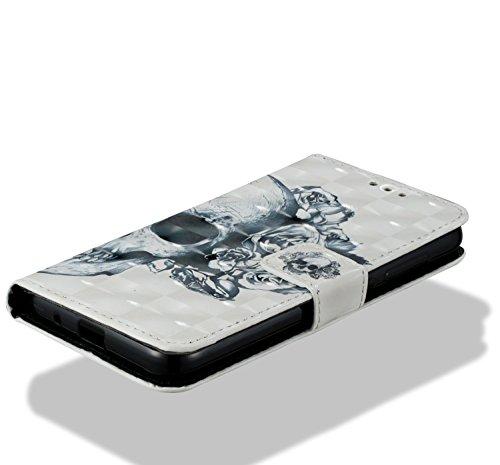 Xiaomi Redmi 5A Hülle,Xiaomi Redmi 5A Leder Hülle,Xiaomi Redmi 5A Kunstleder Wallet Case Handy Tasche Schutzhülle - JAWSEU Lederhülle Leder Tasche Case Cover für Xiaomi Redmi 5A Hülle PU Leder Briefta Blumen Schädel