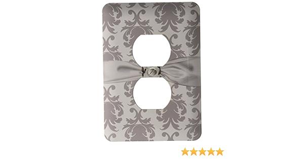 3drose Llc Lsp 118974 6 Baroque Decorative Elegant Damask Pattern Faux Diamond Ribbon 2 Plug Outlet Cover Grey White Outlet Plates Amazon Com