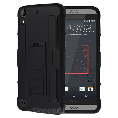 Cocomii Robot Armor HTC Desire 530 Case New [Heavy Duty] Premium Belt Clip Holster Kickstand Shockproof Hard Bumper [Military Defender] Full Body Dual Layer Rugged Cover for HTC Desire 530 (R.Black) ()