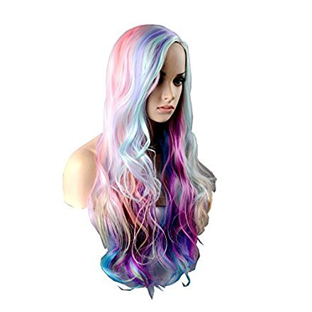 Wigbuy Cosplay 29.5 inches Colorful Hair wigs Ideas Multi color Synthetic Heat Resistant Fiber Natural Loose Long Wigs for Women (C) (Colorful Wigs)
