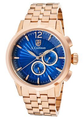 Men's Blue Textured Dial 18k Rose Gold Plated Stainless Steel, Watch Central