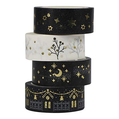 MOEUP 4pcs Washi Masking Tape set (Gold)