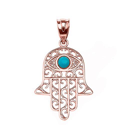 Fine 14k Rose Gold Hamsa Hand with Blue Stone Evil Eye Pendant