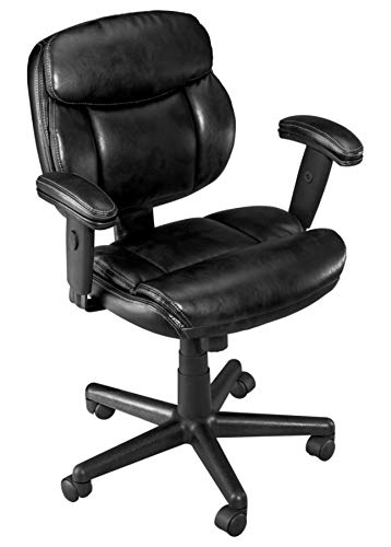 Brenton Studio Ariel Bonded Leather Low-Back Task Chair, Black