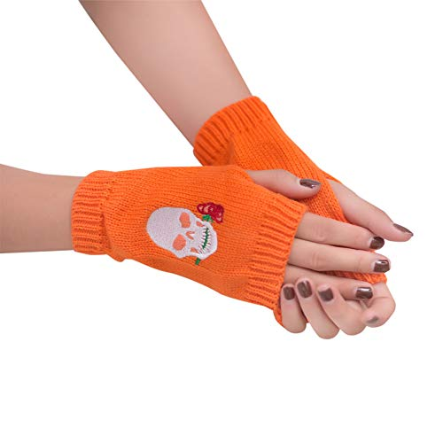 Winter Fingerless Gloves Mittens Hand Warmer Knit Gloves Skeleton Skull for Typing & Driving
