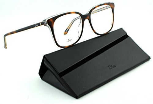 Dior Montaigne 26 Women Rectangular Eyeglasses (Havana Crystal Frame (0U61), 53) (Christian Dior Cd Eyeglasses Frame)