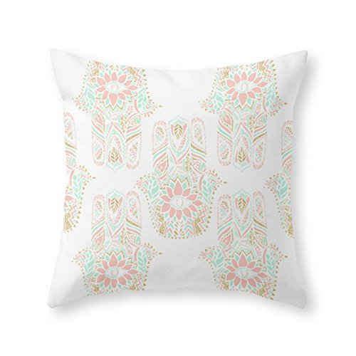 Sea Girl Soft Modern Girly Pink Mint Gold Hamsa Hand Of Fatima Throw Pillow Indoor Cover Pillow Case For Your Home(18in x 18in)
