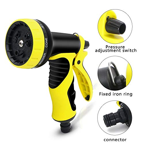 XBUTY Garden Hose Nozzle, Improved High Pressure 9 Pattern Spray Nozzle for Watering Plants Car Wash and Pets Bathing