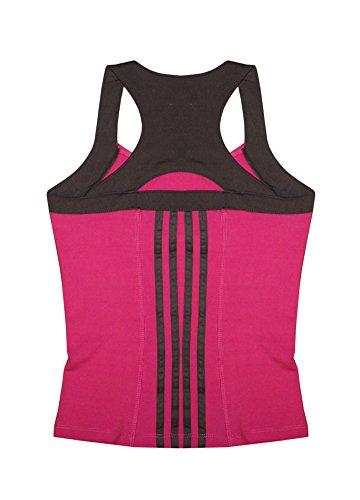 Grip® Women's Performance Athletic Racer Back Tank Top & Yoga Capri Legging Set, Black & Hot Pink, Medium