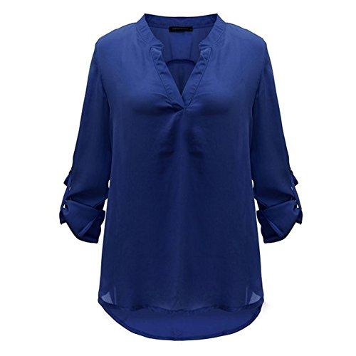 hibote europeo y americano de yardas grandes Mujeres camiseta de manga larga con cuello en V manga de la colmena floja de la gasa Azul