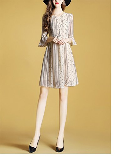 cotyledon A Dresses Flare Sleeve Casual Women`S Printed Beige Line Dress gwqpRSg
