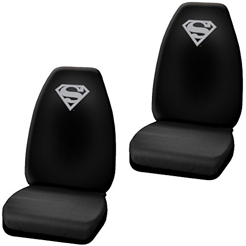 DC+Comics Products : Superman Grey Silver Shield Logo DC Comics Cartoon Movie Character Superhero Auto Car Truck SUV vehicle Universal Fit Front Bucket Seat Covers - PAIR