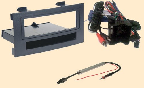Radio Stereo Install Dash Kit single din + Steering control wiring + canbus wire harness + antenna adapter for VW Volkswagen Touareg 2004 2005 2006 2007 2008 2009 2010 (wont work in the 04-07's if replacing a factory Navigation system)