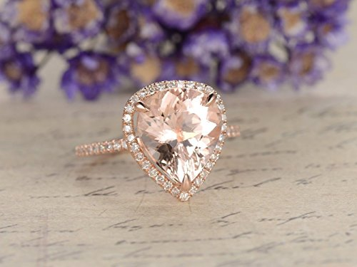 Big 10x12mm Pear Shaped Cut Natural Genuine Pink Morganite Engagement Ring Solid 14k Rose Gold Halo Half Eternity Thin Diamond Wedding Band Bridal Ring Anniversary Gift for Her Women Promise