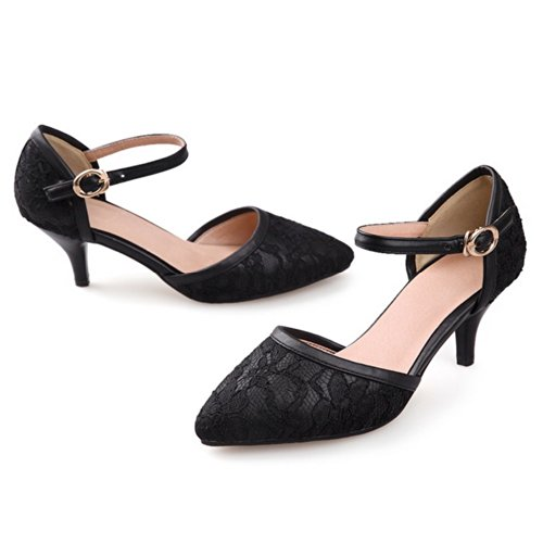 VogueZone009 Womens Closed Pointed Toe Kitten Heel Blend Materials Frosted Solid Pumps with Buckle, Black, 2.5 UK