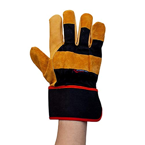 SAFE HANDLER XGrip Camel Leather Gloves | Elastic Band Wrist, AB Camel Leather, Leather Knuckle Protection Work Gloves, OSFM, 1 Pair