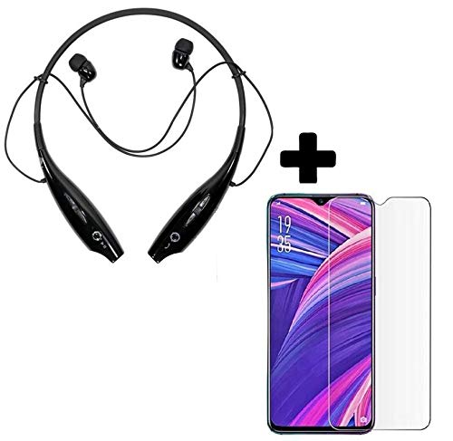 Drumston HBS 730 Neckband Wireless Bluetooth Headset with Mic and Tempered Glass for Oppo F11 Pro