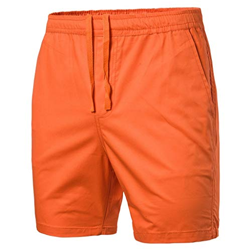 (LUCAMORE Men's Board Shorts Casual Solid Beach Men Short Trouser Shorts Pants with Pockets Orange)