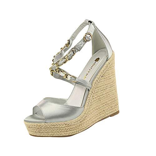 (Loosebee Women's Zip Closure Crisscross Straps Platform Wedge Sandal Wedding Party Dress Shoe)