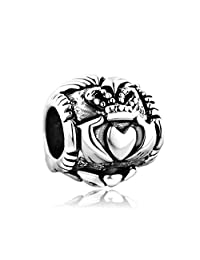 Celtic Friendship Claddagh Charm Silver Plated Bead Fit Pandora Charms Bracelet