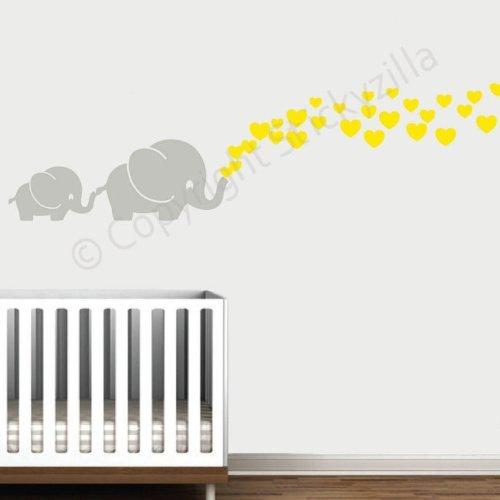 Amazon.com : Cutie Grey Elephants With Colored Bubble Hearts Vinyl Wall  Decal Sticker Baby, Nursery, Play Room (Key Lime Green Hearts) : Nursery  Wall Decor ...