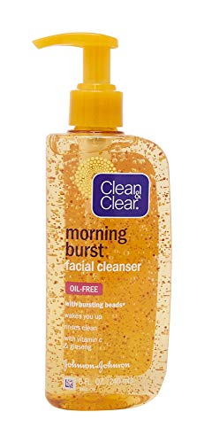 Clean & Clear Morning Burst Oil Free Facial Cleanser with Brightening Vitamin C, Ginseng, and Bursting Beads, Gentle Daily Face Wash for All Skin Types, Vitamin C Brightening Facial Cleanser, 8 oz Be Clean Citrus Cleanser
