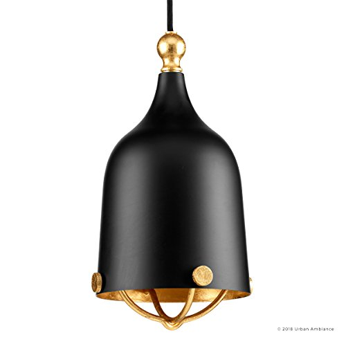 Luxury Americana Pendant Light, Small Size: 11.75''H x 6.375''W, with Nautical Style Elements, Midnight Black Finish, UHP2341 from The Cincinnati Collection by Urban Ambiance by Urban Ambiance (Image #6)