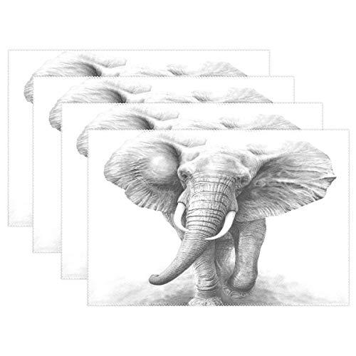 Promini - Manteles Individuales Resistentes al Calor, diseño de Elefante Africano, Lavables, de poliéster, Antideslizantes,...