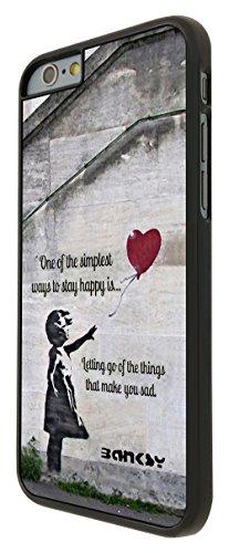 544 - Banksy Grafitti Art Balloon Girl Funky Quote Design iphone 6 6S 4.7'' Coque Fashion Trend Case Coque Protection Cover plastique et métal - Noir