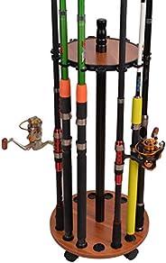 Round Wooden Fishing Rod Racks 15 Holes with 4 Universal Wheels Fishing Rod Holder Storage Display Stand Racks