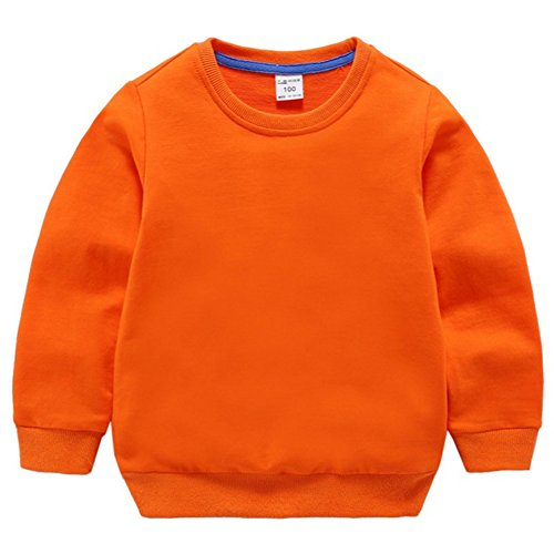 Fairy Baby Little Boy Girl Kid Cotton Outfit Sweatshirt Long Sleeve Shirt Solid Pullover Size 1T (Orange)