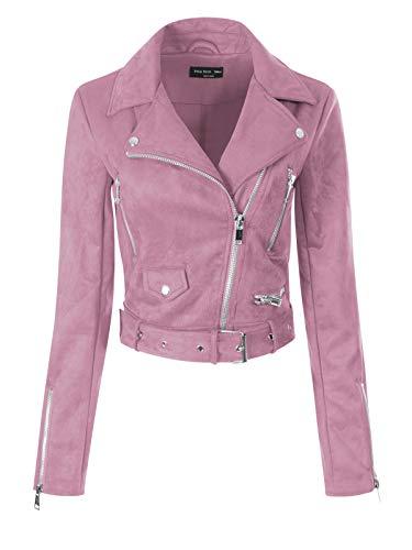 (Instar Mode Women's Stylish Notched Collar Long Sleeve Zip Faux Suede Moto Biker Jacket Pink M)