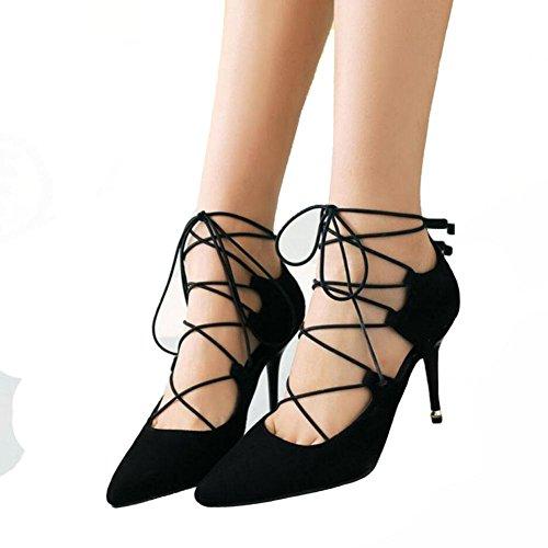 Femmes Automne Fashion Bandage en cuir suédé Véritable Pointu Chaussures à talons hauts , black , 42