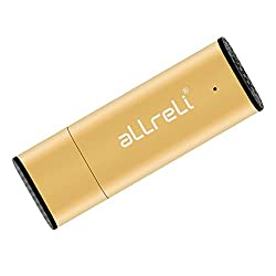 aLLreLi CP0341 2-in-1 8GB Mini USB Voice Recorder [Gold] - Portable Rechargeable Digital Spy Dictaphone & USB 2.0 Flash Drive for Recording Interviews, Meetings and Students Learning