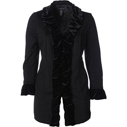 (INC Womens Plus Velvet Trim Ruffled Sleeves Basic Coat Black)