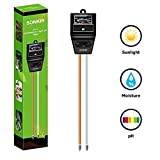 Sonkir Soil PH Meter, MS04 3-in-1 Soil Moisture/Light/pH Tester For Plant Care, Garden, Lawn, Farm, Indoor & Outdoor Use, Promote Plants Healthy Growth (Black)