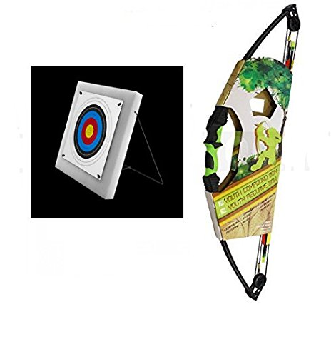 6 Arrows SILCO Child Kids Black /& Green Compound Archery Bow 12Lbs Kit with Black Foam Target 5 FITA Targets /& Pins
