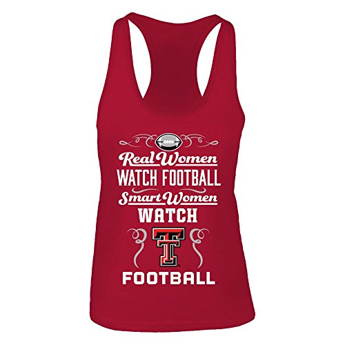 (FanPrint Official Sports Apparel Women's Tank Top Texas Tech Red Raiders Real Women Watch Football, Size XS, Red)