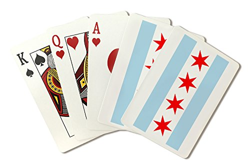 - Chicago, Illinois - Flag (Version #2) (Playing Card Deck - 52 Card Poker Size with Jokers)