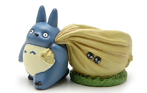 [8cm Miyazaki Hayao My Neighbor Totoro PVC Action Figure Cute Blue Totoro Flower Pot Collection Model Toy for Garden Home] (Mr Gold Lego Costume)