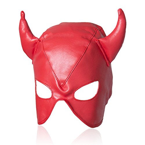 Evaliana Devil Role Play PU Face Mask Horn Masquerade Halloween Costume -
