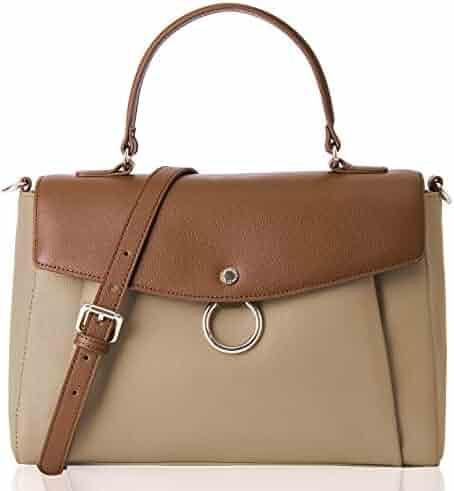 The Lovely Tote Co. Women s Genuine Leather Color Block Satchel Business  Crossbody Handbag f5c037062bdc1