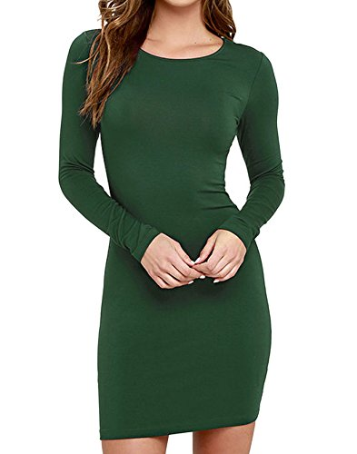 FACE N FACE Women's Knitting Sexy Casual Long Sleeve Short Dress Green Large